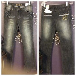 Denim - New Black rhinestone jeans